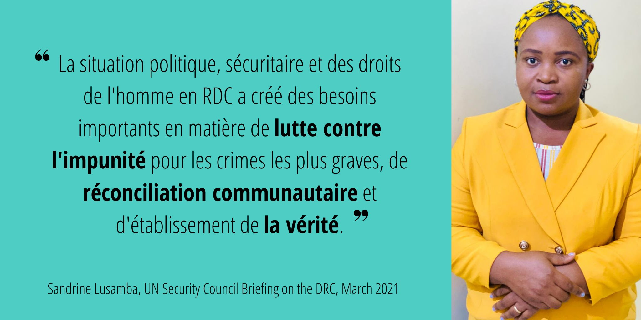 Sandrine Lusamba de Sofepadi s'adresse au Conseil de sécurité des Nations unies